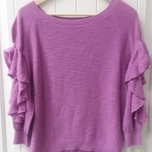 Express Top with Ruffle Detail, open sleeves NWT